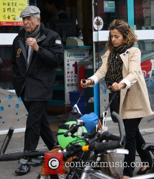 Leonard Cohen out and about with his grandson...
