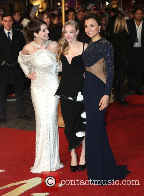 Anne Hathaway, Amanda Seyfried, Samantha Barks and Empire Leicester Square 1