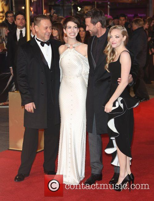 Russell Crowe, Anne Hathaway, Amanda Seyfried Hugh Jackman, Empire Leicester Square
