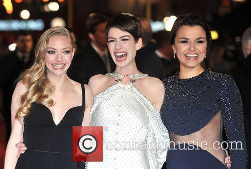 Anne Hathaway, Amanda Seyfreid, Samantha Barks and Empire Leicester Square 4