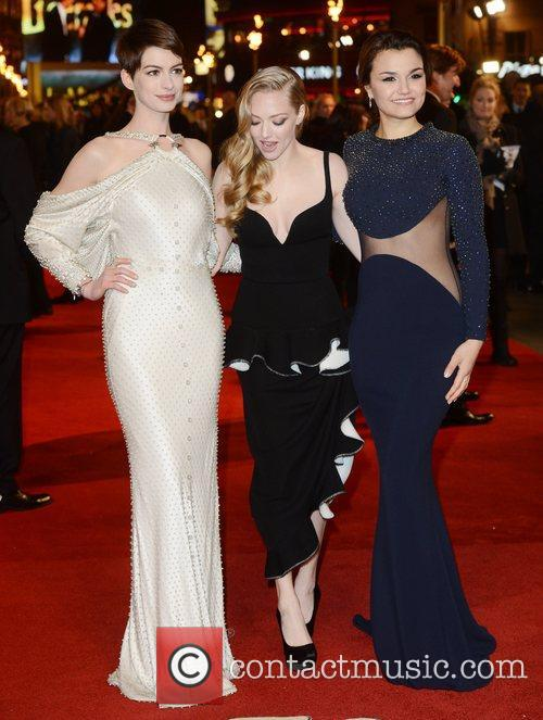 Anne Hathaway, Amanda Seyfried, Samantha Barks, Les Miserable, Odeon, Leicester Square, London, England