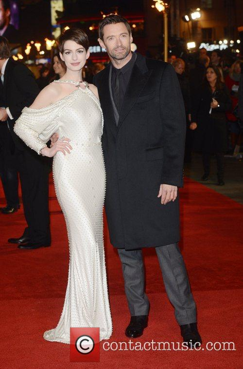 Anne Hathaway and Hugh Jackman at the premiere...