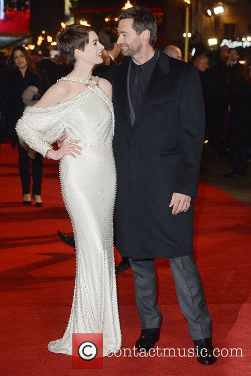 Anne Hathaway, Hugh Jackman, Les Miserable, Odeon, Leicester Square, London and England 1