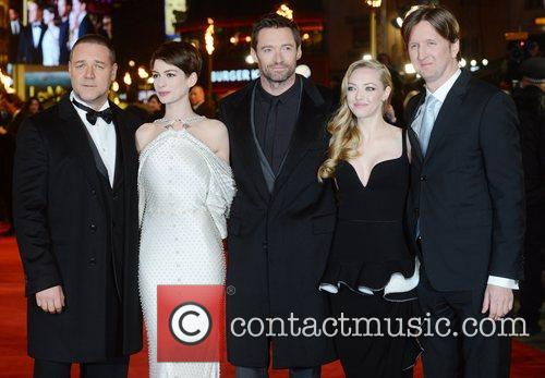 Russell Crowe, Anne Hathaway, Hugh Jackman, Amanda Seyfried, Tom Hooper, Les Miserable, Odeon, Leicester Square, London and England 1