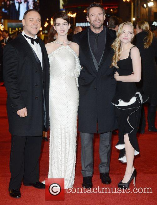 Russell Crowe, Anne Hathaway, Hugh Jackman, Amanda Seyfried, Les Miserable, Odeon, Leicester Square, London and England 3
