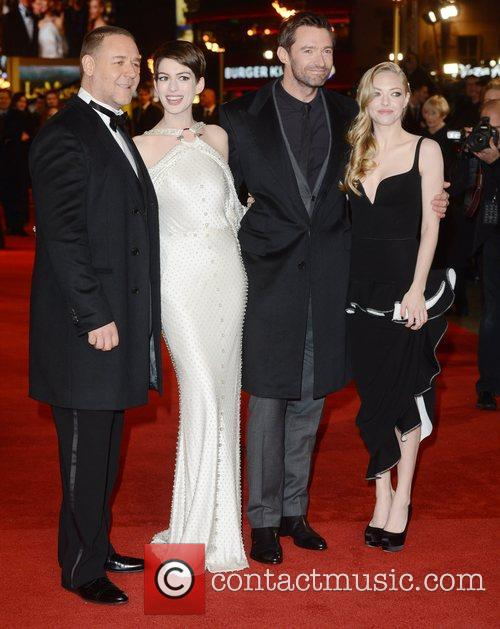 Russell Crowe, Anne Hathaway, Hugh Jackman, Amanda Seyfried, Les Miserable, Odeon, Leicester Square, London and England 6