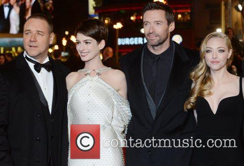 Russell Crowe, Anne Hathaway, Hugh Jackman, Amanda Seyfried, Les Miserable, Odeon, Leicester Square, London and England 4