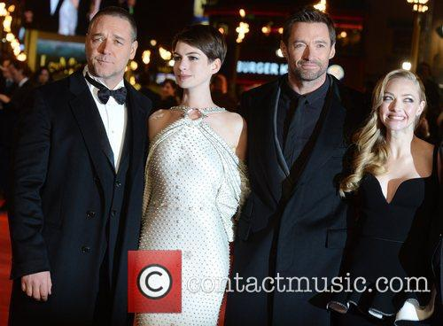 Russell Crowe, Anne Hathaway, Hugh Jackman, Amanda Seyfried, Les Miserable, Odeon, Leicester Square, London and England 5