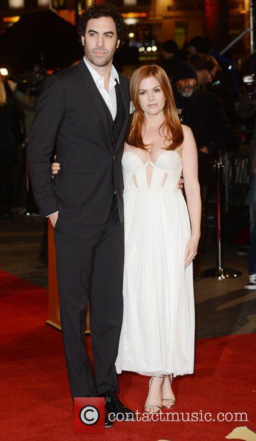 Sacha Baron Cohen, Isla Fisher, Les Miserable, Odeon, Leicester Square, London, England
