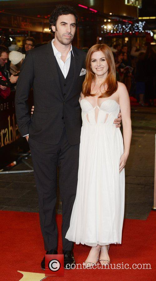 Sacha Baron Cohen, Isla Fisher, Les Miserable, Odeon, Leicester Square, London and England 1
