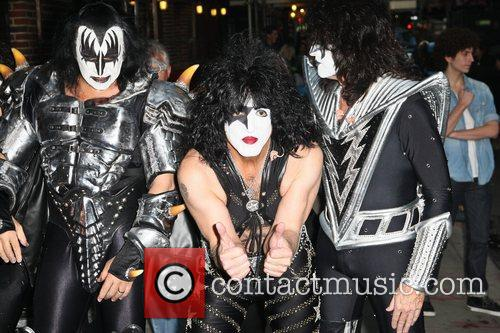 Gene Simmons, Paul Stanley and Tommy Thayer of...