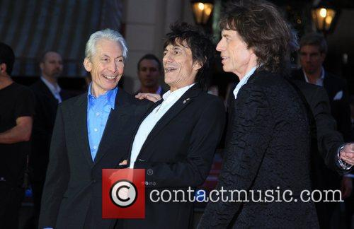 Charlie Watts, Ronnie Wood, and Mick Jagger 56th...