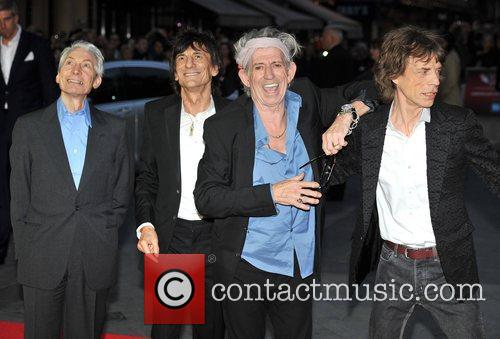 Charlie Watts, Keith Richards, Ronnie Wood and Mick Jagger of the Rolling Stones 56th BFI London Film Festival: 'Rolling Stones - Crossfire Hurricanes', gala screening held at the Odeon Leicester Square