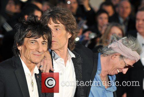 Keith Richards, Ronnie Wood and Mick Jagger of...