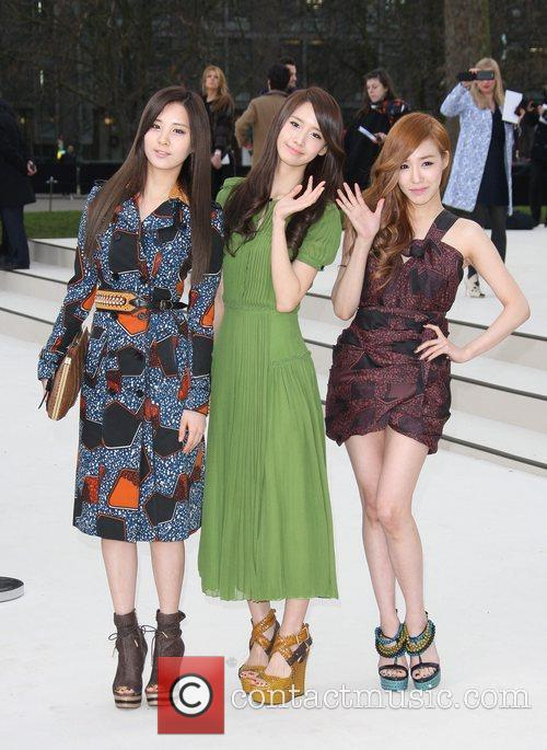 'Girls Generation' Seohyun, Yoona and Tiffany London Fashion...