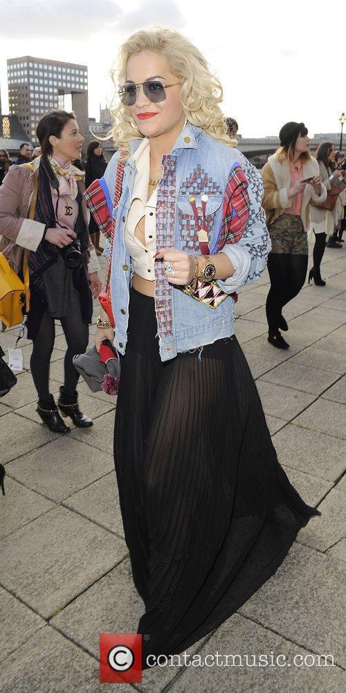 Rita Ora Topshop Autumn/Winter 2012 collection departures. London,...