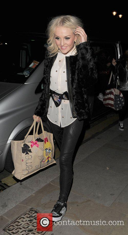 Perrie Edwards from girl group Little Mix, arriving...