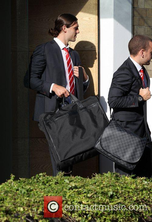 The Liverpool football squad depart the Hope Street...