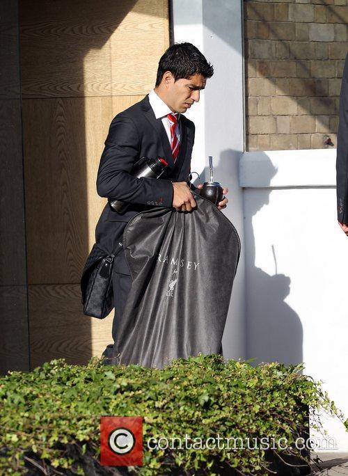 Luis Suarez The Liverpool football squad depart the...