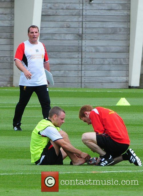 Brendan Rodgers and Jay Spearing Liverpool football team...