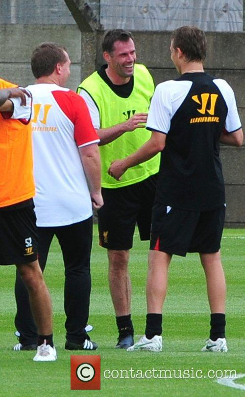Brendan Rodgers, Jamie Carragher and Lucas Leiva Liverpool...