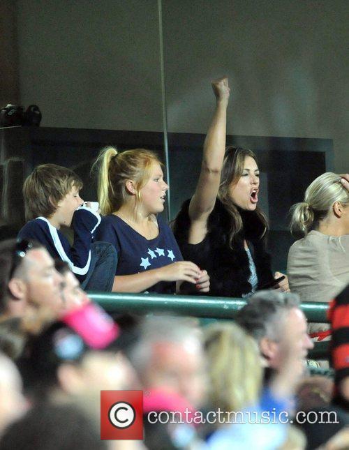 Elizabeth Hurley, aka Liz Hurley, watching fiance Shane...