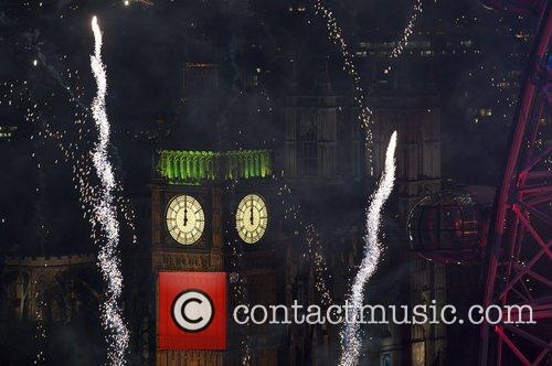 Fireworks displays over the London Eye mark the...
