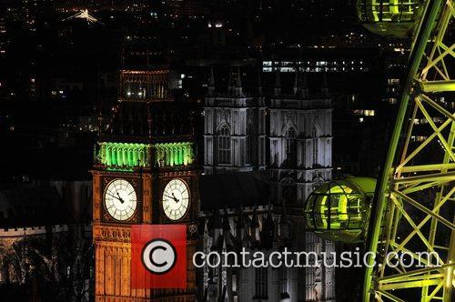 Big Ben and the London Eye are lit...