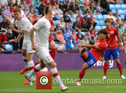 South Korea's Park Chu-young fires a shot at...