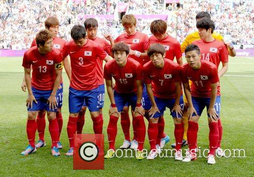 The South Korea team line-up before the match...