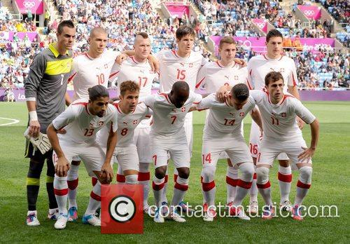 The Switzerland team line-up before the match...