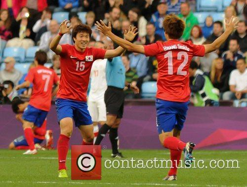 South Korean players celebrate a goal  The...