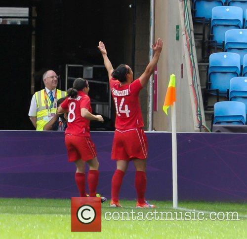 Canada celebrate their first goal London 2012 Olympic...