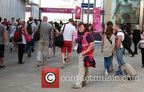 Crowds arrive at Olympic Park for the first...