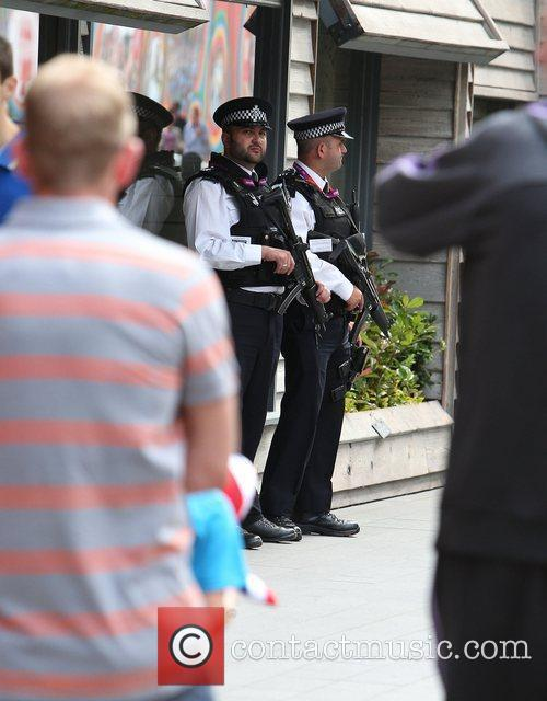Police at Westfield Shopping Centre on the first...
