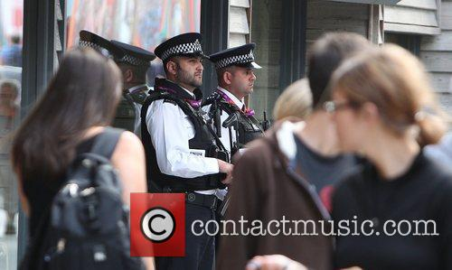 Police patrol Westfield shopping centre during the first...