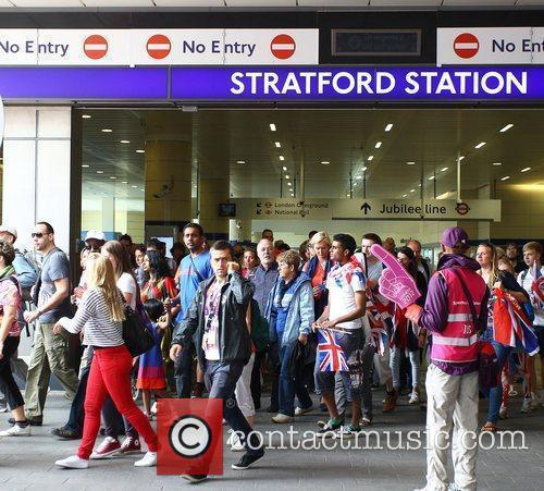 Crowds arrive at Stratford station for the first...