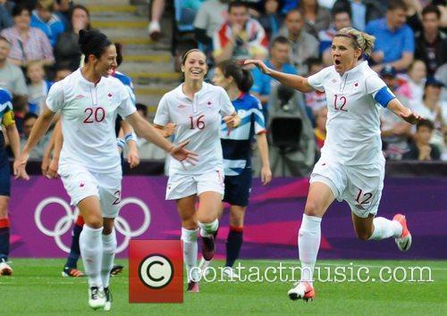 Marie-Eve Nault, Jonelle Filigno and Christine Sinclair London...