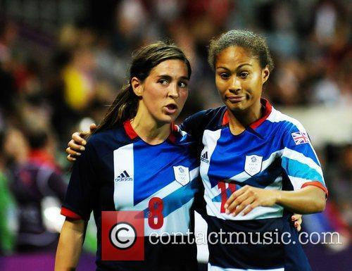 Fara Williams (Great Britain) and Rachel Yankey(Great Britain)...