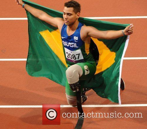 Alan Fonteles Cardoso Oliveira (BRA) celebrates as he...