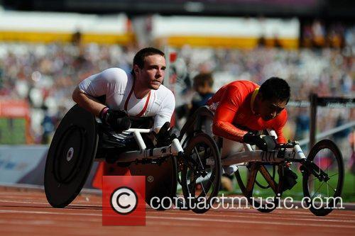 Men's 100m T53 Heat. Mickey Bushell (GBR) in...