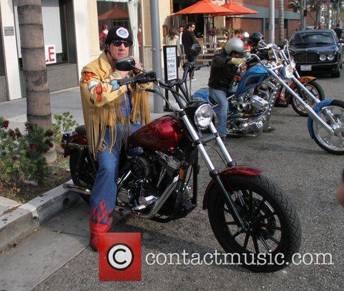 Chuck Zito on his motorcycle in Beverly Hills...