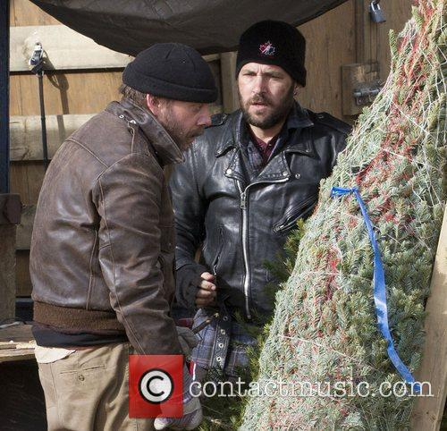 Paul Rudd, Paul Giamatti  filming on location...