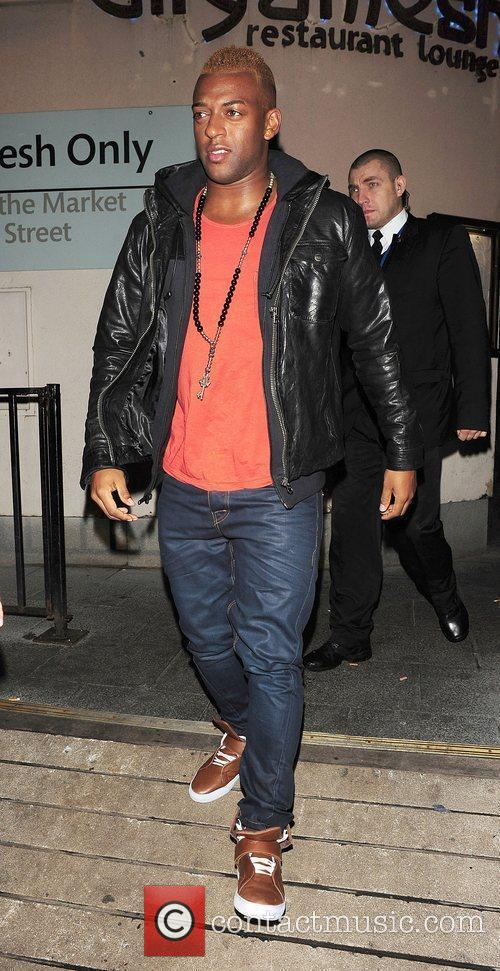 Oritse Williams of JLS leaving Lydia Bright's birthday...