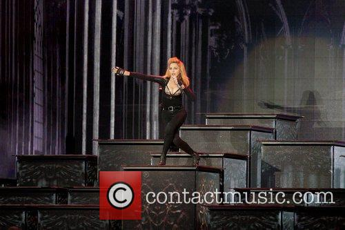 Madonna performing live in her MDNA concert at...