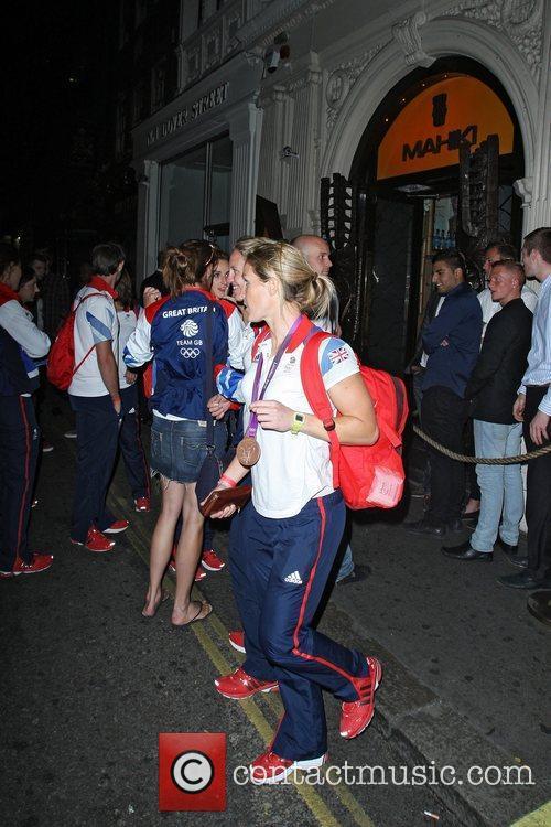 Team GB Olympic athletes outside Mahiki nightclub London,...