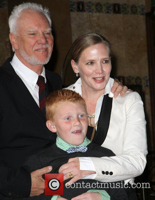 Malcolm McDowell with his wife Kelley and son...