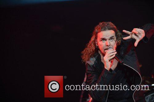 Fher Olvera of Mana performs at AmericanAirlines Arena....