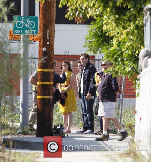 Mandy Moore on the set of a new...