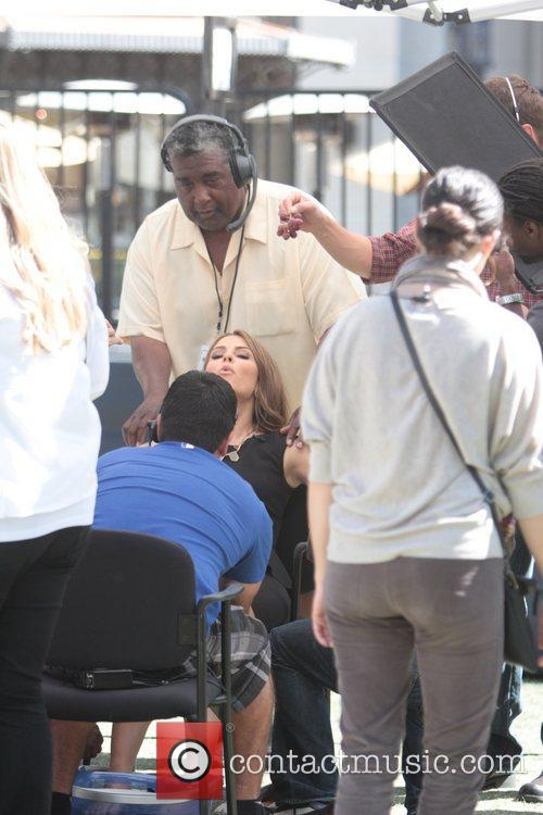 Maria Menounos is pampered by the production team...